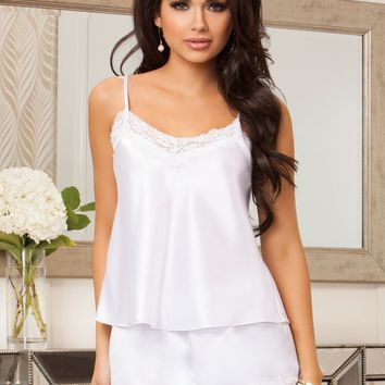 Satin and Lace Cami and Short Set White
