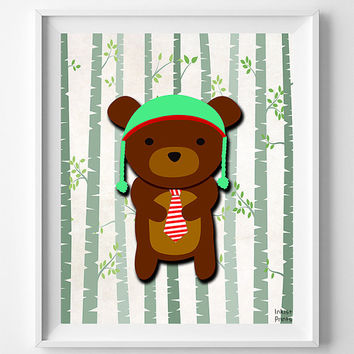 Animal Nursery Print, Woodland Bear, Nursery Wall Art, Animal Nursery Decor, Hipster Bear, Baby Room Print, Giclee Poster, Christmas Gift
