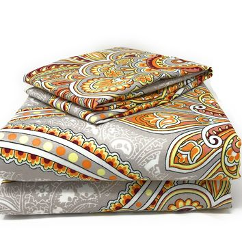 Tache 2-3 PC Sunshine Festival White Gold Fancy Patterned Fitted Sheet Set (TA2811FIT)