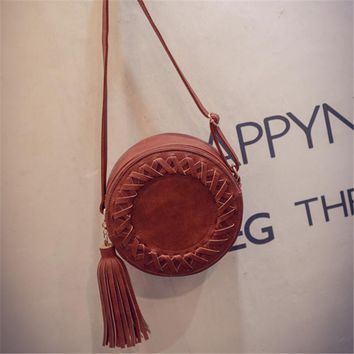 YBYT brand 2017 new vintage circular knitting tassel bags joker ladies cell phone coin purses shoulder messenger crossbody bags