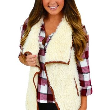 Cream Fuzzy Vest - Unique Chic
