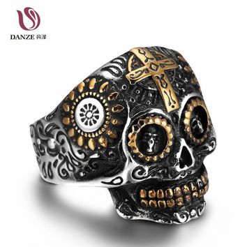 DANZE Mens Signet Skull Rings Retro Cross Vintage Stainless Steel Male Skeleton Ring Awesome Male Gift Men Jewelry Anel Bague