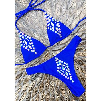 Fashion Summer New Beach Diamond Solid Color Wading Sports Straps Two Piece Bikini Swimsuit Blue