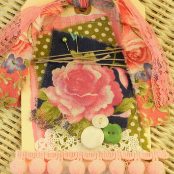 shabby gift tag valentine wedding baby shower gift embellishment pink and green preppy roses
