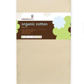 Naturepedic Organic Cotton Crib Mattress: Ultra 2 in 1 (Waterproof & Quilted Sides)