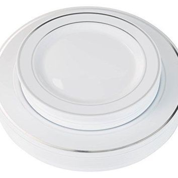 "Exquisite Reflective (Silver Line) Plastic Plates-60 Peices Premium Heavyweight Plastic Dinnerware (30- 10.25"" Dinner and 30 - 7.5"" Salad/Dinner) Wedding Like China"