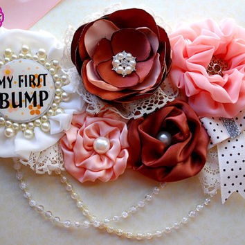 My first bump / Mommy to be sash / Maternity Sash / Belly Sash / Gender Reveal / Baby shower sash /ivory brown sash / photo prop sash
