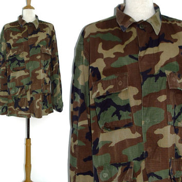 Vintage 80s Army Military Issued Field Camo Jacket Sz L