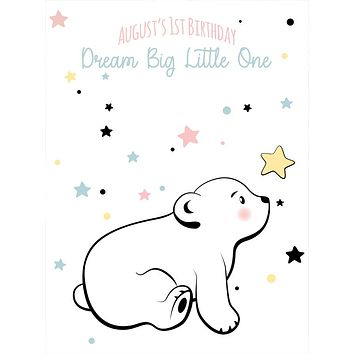 Custom Birthday Baby Polar Bear Dream big Little One Backdrop (Any Color) Background - C0270