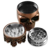 Crown Skull,,Herb Grinder,3 Parts,Herb Grinder With Pollen Catcher Free Bousne 5x Brass Pipe Screens !