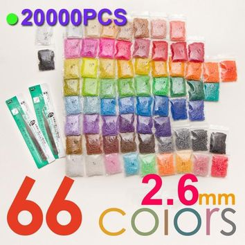 2.6mm Fuse Beads 66 Color(20000pcs+1 Template+3 Iron Paper+2 Tweezers) Hama Beads Diy Kids Toy Craft Perler Beads sale
