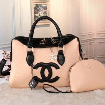CHANEL Women Shopping Bag Leather Tote Handbag Shoulder Bag Two Piece Set G-MYJSY-BB