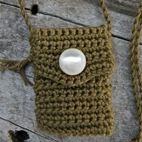 Handmade and One of a Kind Cotton Spirit Pouch - Moss