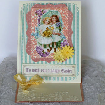 Graphic 45 Easter Greeting Card for Friend Spring Friendship Card Happy Easter 3D pop up card