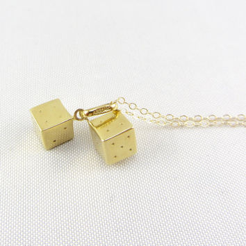 Vintage 14K Gold Dice Pendant Necklace - Mid Century Yellow Gold Good Luck Lucky Charm Fine Jewelry