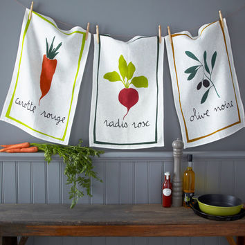 French Farmers Market Traditional Linen DISH TEA TOWEL Cloth - Generous Size - Great Gift