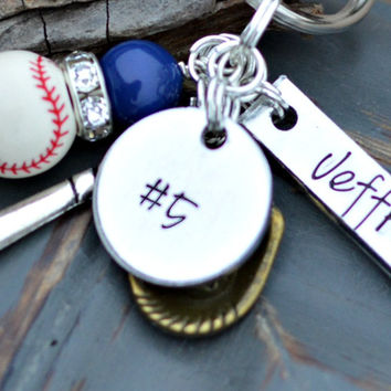 Baseball gifts - Baseball Keychain - Name on - Player - baseball charm - Softball