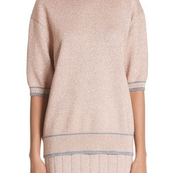 MARC JACOBS Rib Trim Metallic Sweater | Nordstrom
