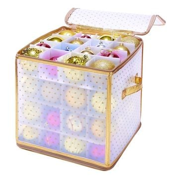 Simplify 64-Count Gold Ornament Organizer | Overstock.com Shopping - The Best Deals on Holiday Storage