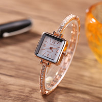 Lady Square Quartz Watch Rose Gold Fashion Bracelet Watch