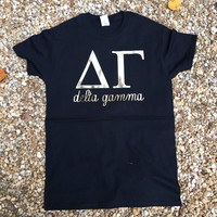 Sorority Tee Black with Gold Greek Letters / Greek T-Shirts / Sorority Big Little T-Shirts