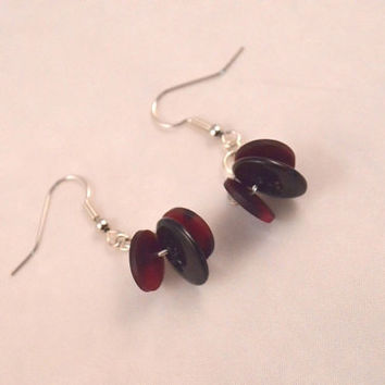 Handmade Burgundy Swirl and Black Button Dangle Earrings, Button Accessories For Women and Teens