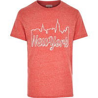 River Island MensRed New York skyline short sleeve t-shirt