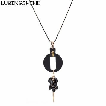 LUBINGSHINE Female Pendants Necklaces Long Women Jewelry Geometric Round Wood Beads Chain Necklace For Woman bijoux kolye