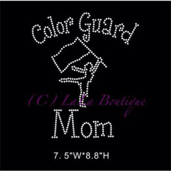 Color guard mom iron on rhinestone heat transfer - DIY appliqué for shirts color guard flag - school team sport shirt
