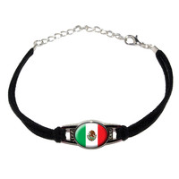Mexico Mexican Flag Novelty Suede Leather Metal Bracelet