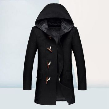 Winter Wool Coat Men Fashion Horn Button Designer Wool Jacket Men High Quality Hooded Mens Peacoat Size M-3XL