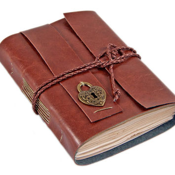 Light Brown Vegan Faux Leather Journal with Tea Stained Paper and heart charm, ready to ship