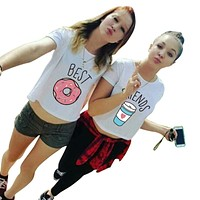 Funny Best Friends T Shirt Donut And Coffee Duo