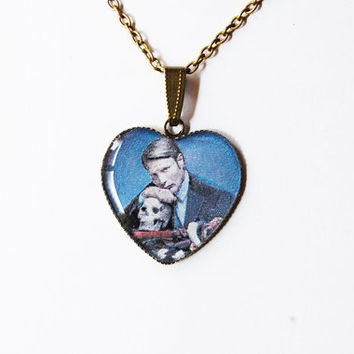 """Hannibal Lecter (Mads Mikkelsen) from Television Series """"Hannibal"""" - Handmade Vintage Cameo Pendant Necklace"""