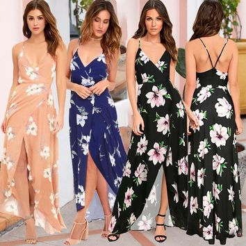 2019 spring and summer new women's sling V-neck sexy leaky printed beach dress