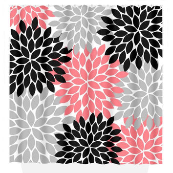 Coral Black Gray SHOWER CURTAIN, Flower Burst Petals, Custom MONOGRAM Personalized, Floral Bathroom Decor, Beach Towel, Plush Bath Mat