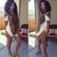 2016 Sexy summer Women Print Dashiki Dresses Long Shirt Traditional African Cocktail party dresses Mini dress bodycon dress