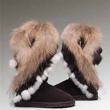 UGG Fox Fur Tall Boots 8688 Chocolate