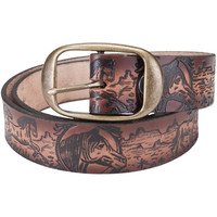 Horses Galloping Through Desert Plains Leather Belt