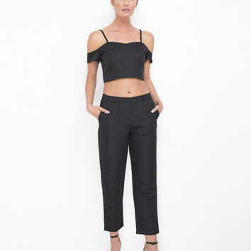 JULIETTE RETRO CIGARETTE PANT SET - BLACK
