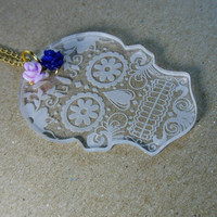 dia de los muertos long necklace Laser cut acrylic pendant la catrina Sugar skull day of the dead lavender navy blue