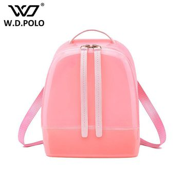 WDPOLO New Silicon shinning leather women backpack sling lady chic essentials hand bags summer jelly candy color bag M1788