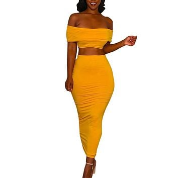 2 Piece Set Women Sexy Crop Top And Long Skirts Two Piece Bodycon Skirts Set Women For Summer Off Shoulder Crop Tops