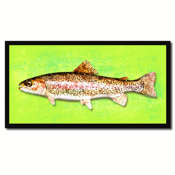 Rainbow Trout Fish Green Canvas Print Picture Frame Gifts Home Decor Nautical Wall Art