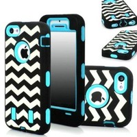 KINGCOOL(TM)3in1 New Chevron Wave Design Armored Hybrid PC & Silicone Case Combo for Apple iPhone 5C(Sky Blue)