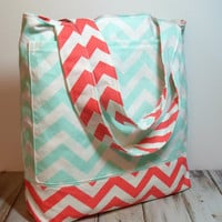 Chevron Beach Tote - Mint and Coral - Beach Bag - Tote Bag - Chevron Tote Bag - Canvas Tote - Large Tote Bag - Bridesmaid Tote - Large Tote