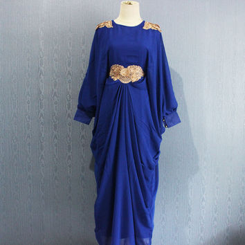 Blue Afantee Caftan Maxi Dress with lining Plus Size Soft Chiffon Kaftan Maternity Dress,  Limited Edition Kaftan Maxi Dresses