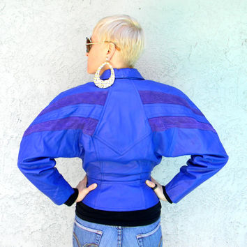 Patrick Nagel Lady - Vintage 80s/90s Avante Guard ELECTRIC Blue Leather Motorcycle JACKET w Cocoon Batwing/Dolman Sleeves & Corset Waist - S