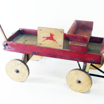 Toy Wagon, Wood, Handmade, Folk Art, Vintage Antique, Home Decor, Red, Accent