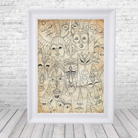 Africa poster - Printable Poster - Africa wall decor - Print - Digital print -  Wall Decor Printable - African masks - A4 - A2